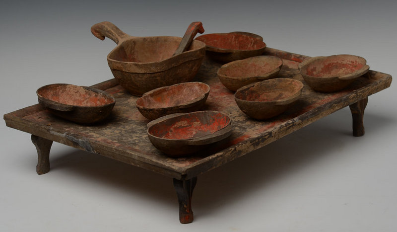 Han Chinese Pottery Table with Wine Cups and Spoons Set