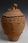 Chinese Pottery Jar with Cover Decoration