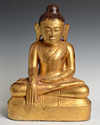18th Century, Burmese Wooden Seated Lotus Buddha