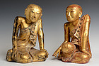 18th C., Shan, A Pair of Burmese Paper Mache' Seated Disciples