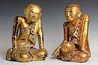 18th C., Shan, A Pair of Burmese Paper Mache' Seated Disciples