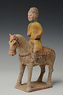 Chinese Pottery Standing Horse and Rider on Base