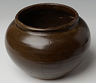 Chinese Light-Brown Glazed Jar in Globular Form
