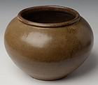Chinese Light-Brown Glazed Jar in Globular Form