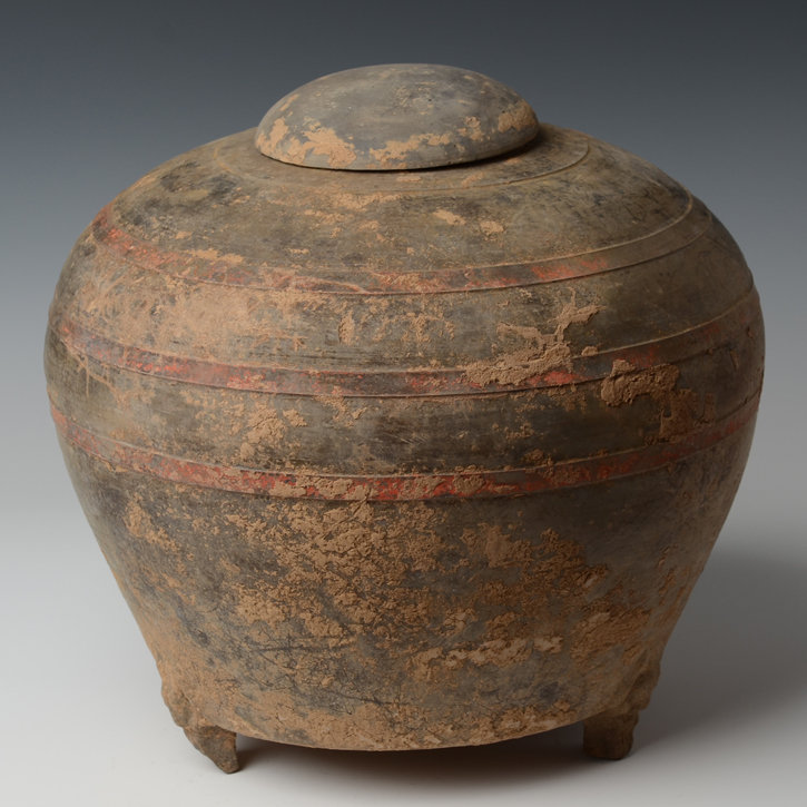Han Dynasty, Chinese Pottery Covered Jar in Globular