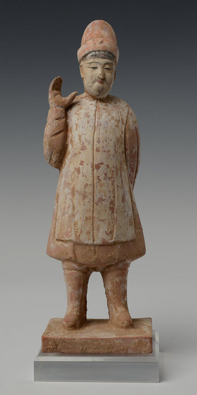Chinese Pottery Figure of Courtman on Square Base