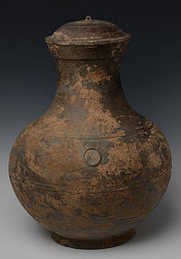 Han Dynasty, Chinese Pottery Covered Jar