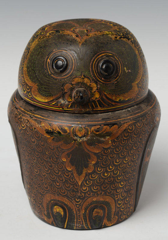 Early 20th Century, Burmese Lacquerware in the Form of Owl