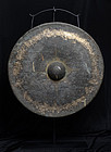 19th C., Mandalay, Large Burmese Bronze Gong with Stand