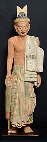 Burmese Wooden Standing Old Man