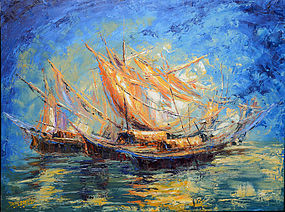 Burmese Oil Painting of Boats Sailing in the Sea