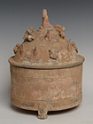 Han Dynasty, Chinese Pottery Covered Box with Design on Top
