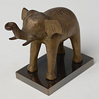Early 20th Century, Burmese Bronze Standing Elephant