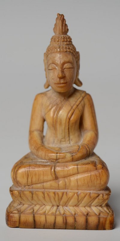 19th Century, Rattanakosin, Thai Ivory Seated Buddha