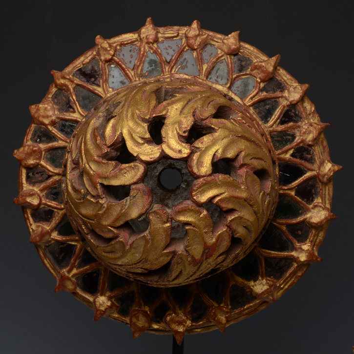 Burmese Wooden Ceiling Decoration with Gilded Gold and Glass