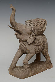 Burmese Wooden Standing Elephant