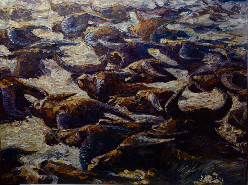 Burmese Oil Painting of A Herd of Buffaloes