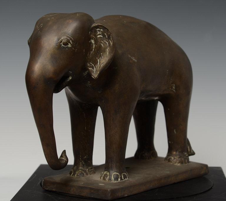 19th Century, Mandalay, Burmese Bronze Standing Elephant
