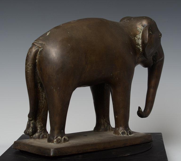 Burmese Bronze Standing Elephant on Rectangular Base