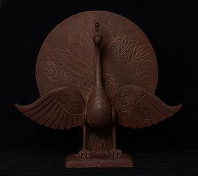 Burmese Wooden Standing Peacock