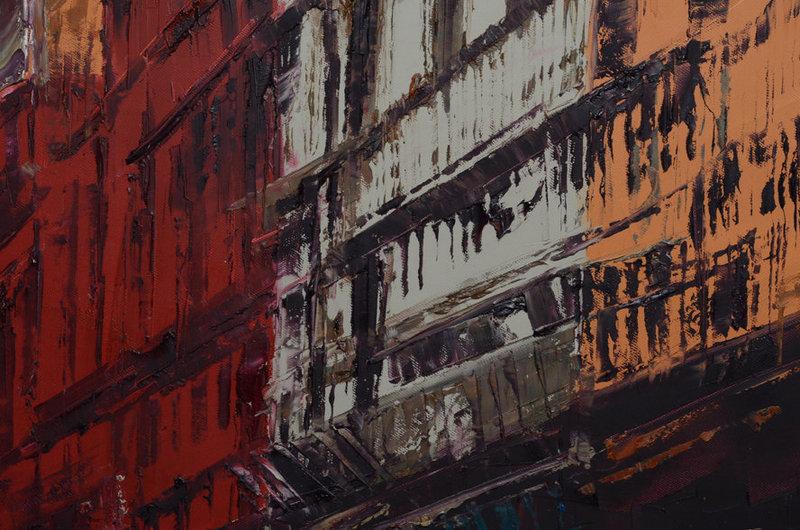Burmese Oil Painting of Old Myanmar Buildings
