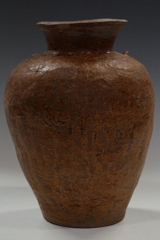 Sankampaeng Pottery Jar with Brown Glazed