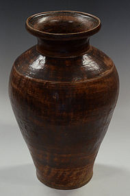 15th C., Sankampaeng Pottery Jar with Brown Glazed