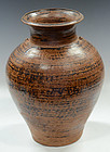 Sankampaeng Pottery Jar with Brown Glazed
