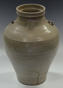Sankampaeng Pottery Jar with Light Olive Green Glazed