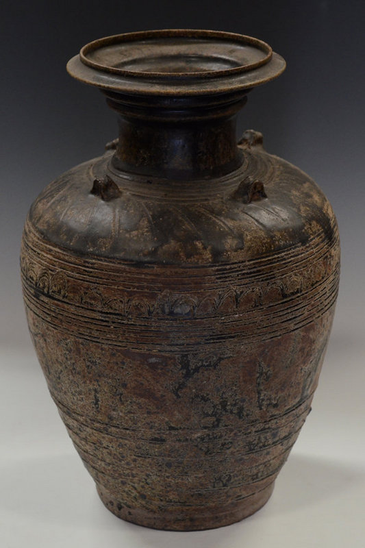 Khmer Dark-Brown Glazed Pottery Jar