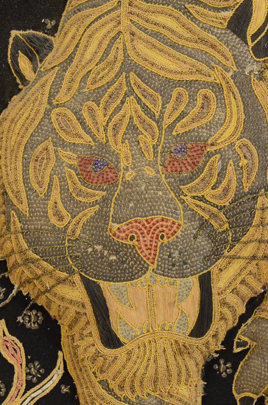 Burmese Emproidered Wool with Sequins in Tiger Design
