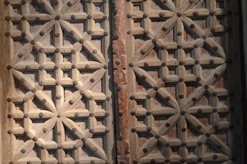 19th C., Indian Wooden Door Set with Bronze Decoration