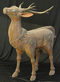 19th Century, Thai (Lanna) Wooden Standing Deer