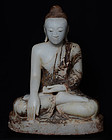 19th Century, Mandalay, Burmese Alabaster Seated Buddha