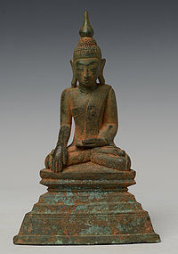18th Century, Shan, Burmese Bronze Sitting Buddha