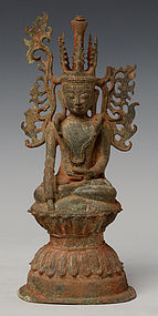 16th Century, Ava, Burmese Bronze Crowned Buddha