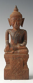 19th Century, Khmer Wooden Seated Buddha