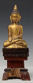 18th Century, Tai Lue Burmese Wooden Seated Buddha