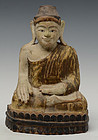 19th Century, Mandalay, Burmese Wooden Seated  Buddha