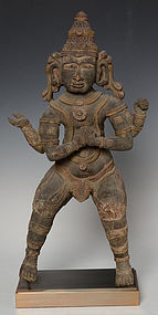 18th Century, Burmese Wooden Standing Vishnu