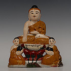 Early 20th C., Burmese Soapstone Seated Buddha and Disciples