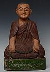 Late 19th Century, Burmese Wooden Sitting Monk
