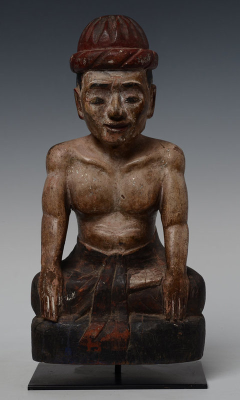 Early 20th Century, Burmese Wooden Seated Figure of A Man
