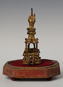 15th C., Burmese Bronze Pagoda with Gilded Gold