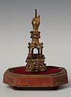 15th Century, Ava, Burmese Bronze Pagoda with Gilded Gold