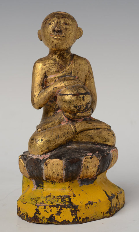 19th C., Mandalay, Burmese Wooden Seated Disciple Holding Bowl