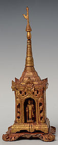 19th C., Burmese Wooden Shrine with Standing Disciple