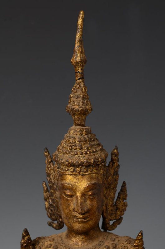 19th Century, Rattanakosin, Thai Bronze Standing Crowned Buddha