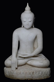 16th Century, Large Burmese Alabaster Seated Buddha