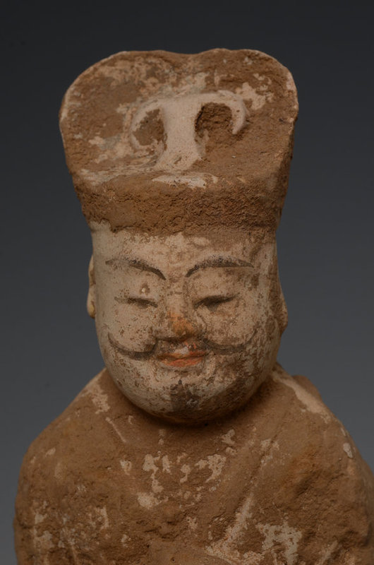 Tang Dynasty, Chinese Painted Pottery Court Man